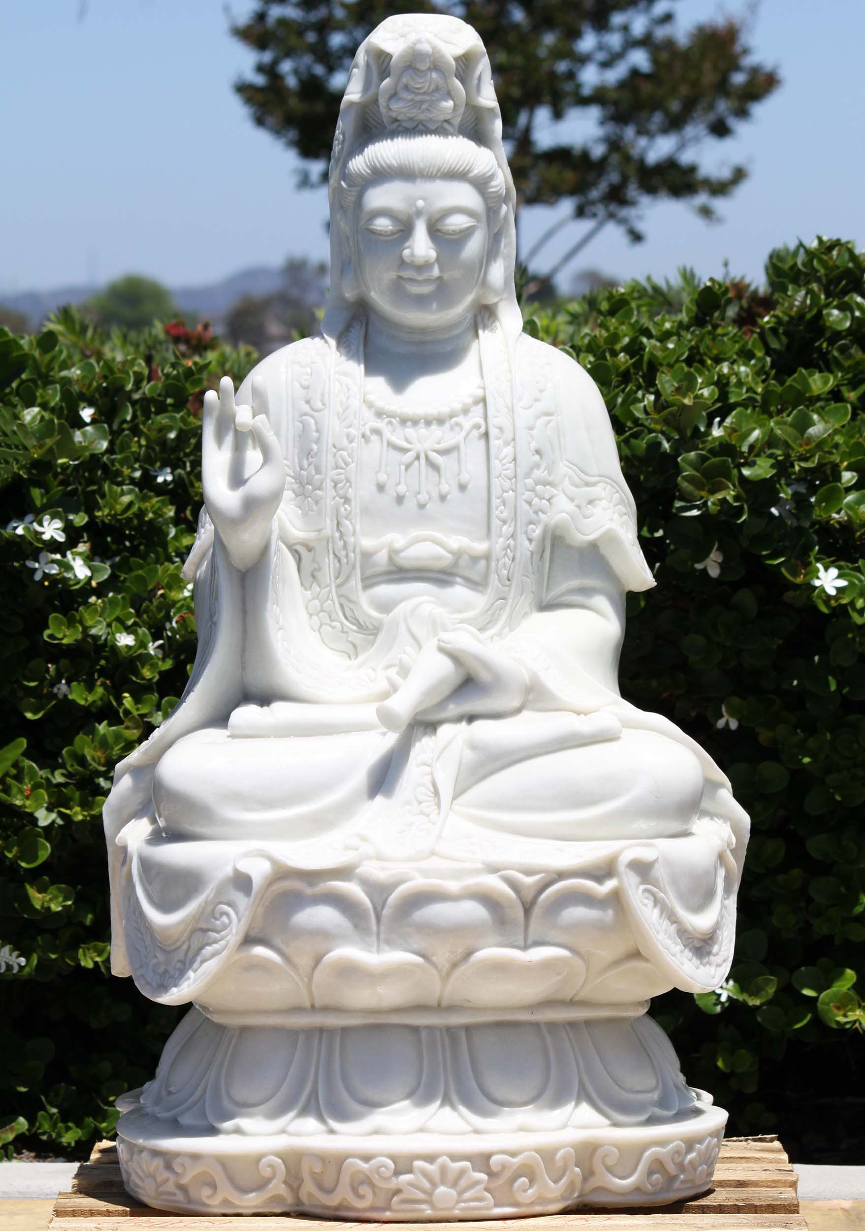 Sold White Marble Radiant Kwan Yin Statue 41 Quot 109wm5