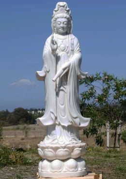 White Marble Standing Kwan Yin Statue 57