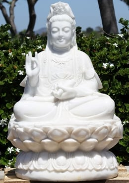 Marble Kwan Yin Seated on Large Lotus Base 34