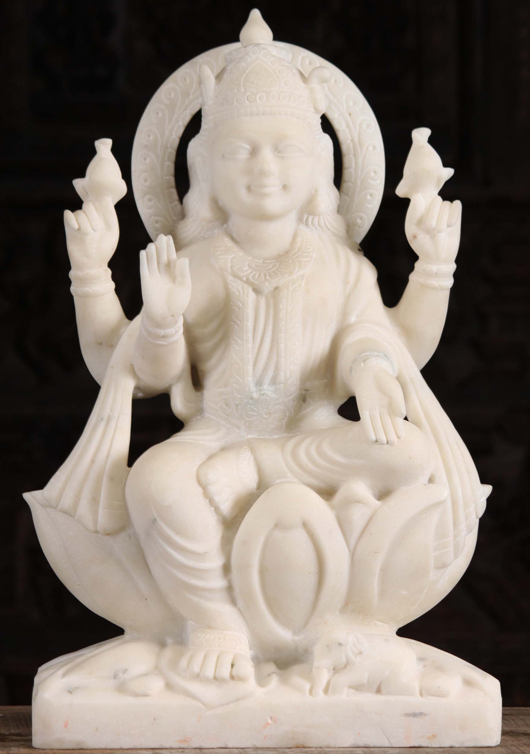 White Marble Lakshmi Statue Holding Two Lotus Flowers 24 90wm70a