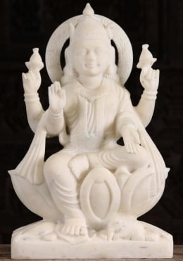 White Marble Lakshmi Statue Holding Two Lotus Flowers 24