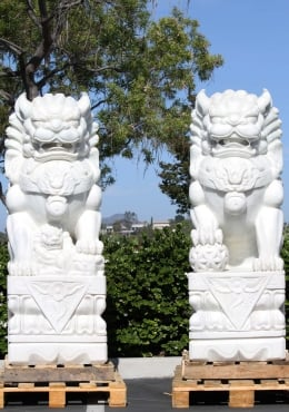 White Marble Large Foo Dogs Sculptures 64