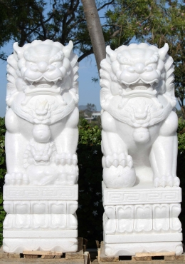 White Marble Large Foo Dogs Statues 47
