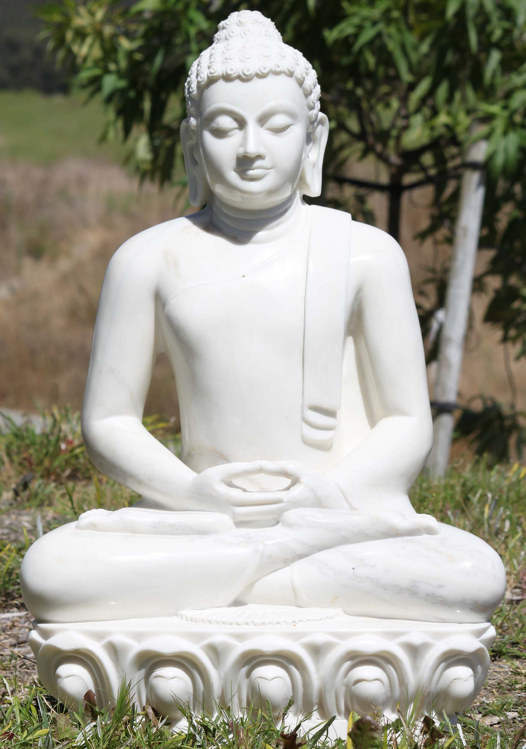 Sold White Marble Meditating Buddha Sculpture 31