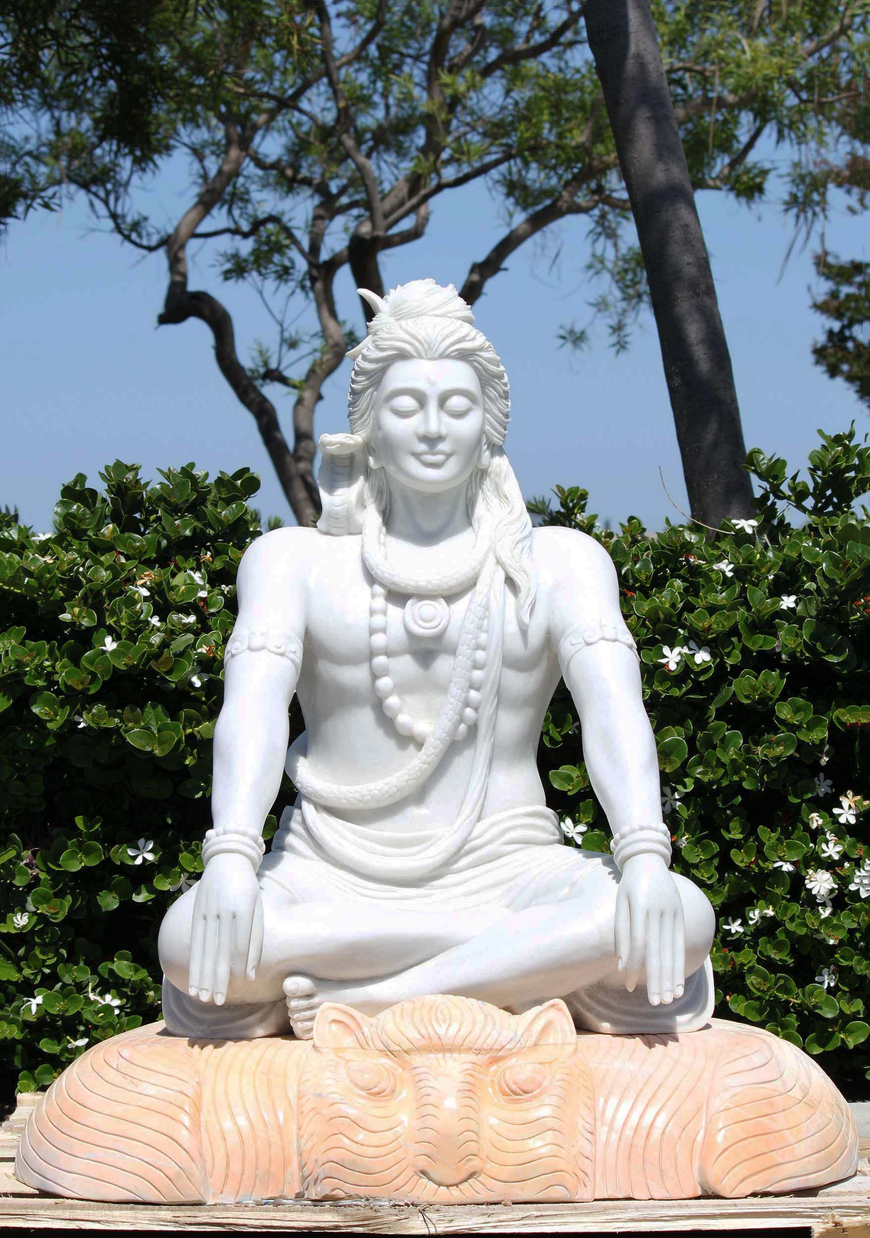 Marble Shiva Meditating On Shores Of Ganges 39 Quot 109wm6