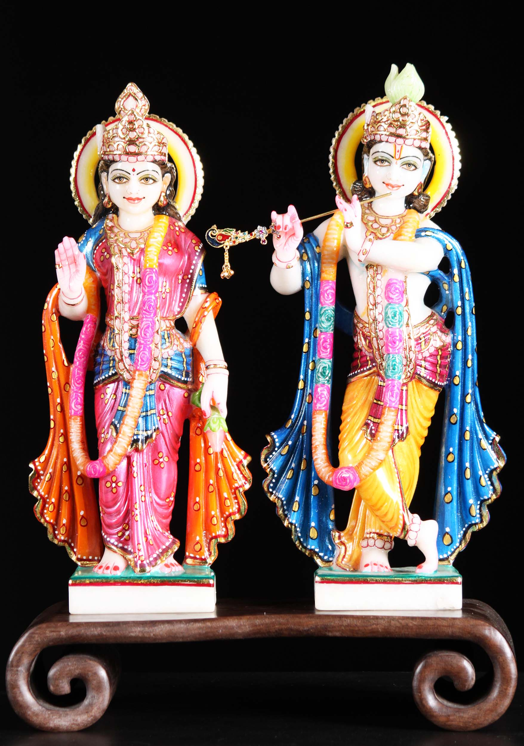 White Marble Radha Krishna Statue 15 Quot 90wm1 Hindu Gods