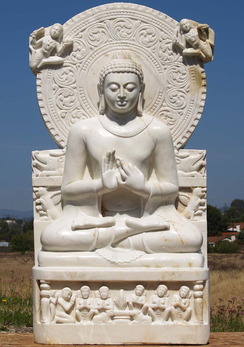 Sold White Marble Sarnath Buddha Statue 60 Quot 71wm52