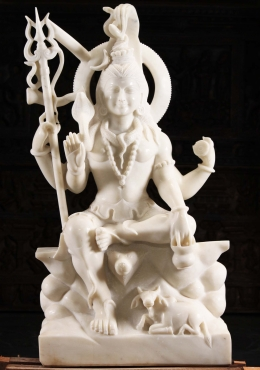 White Marble Shiva with Nandi Sculpture 48
