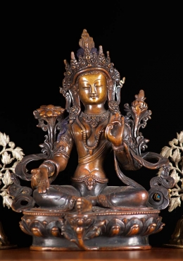 Copper Nepali Green Tara Statue 9