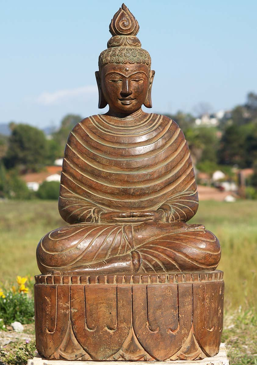 Stone Buddha Statue Wearing Winter Robes 37 Quot 83ls69