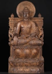 Wooden Earth Touching Buddha Statue 36