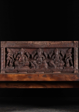 Wooden 3 Ganesh Panel with 2 Dwarapalaki 35.5
