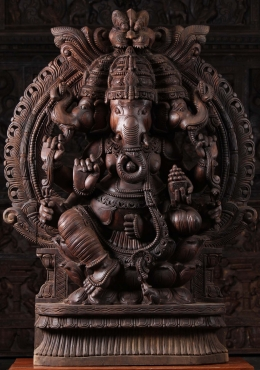 Wooden 3 Headed Trimuhka Ganapathi Statue 48