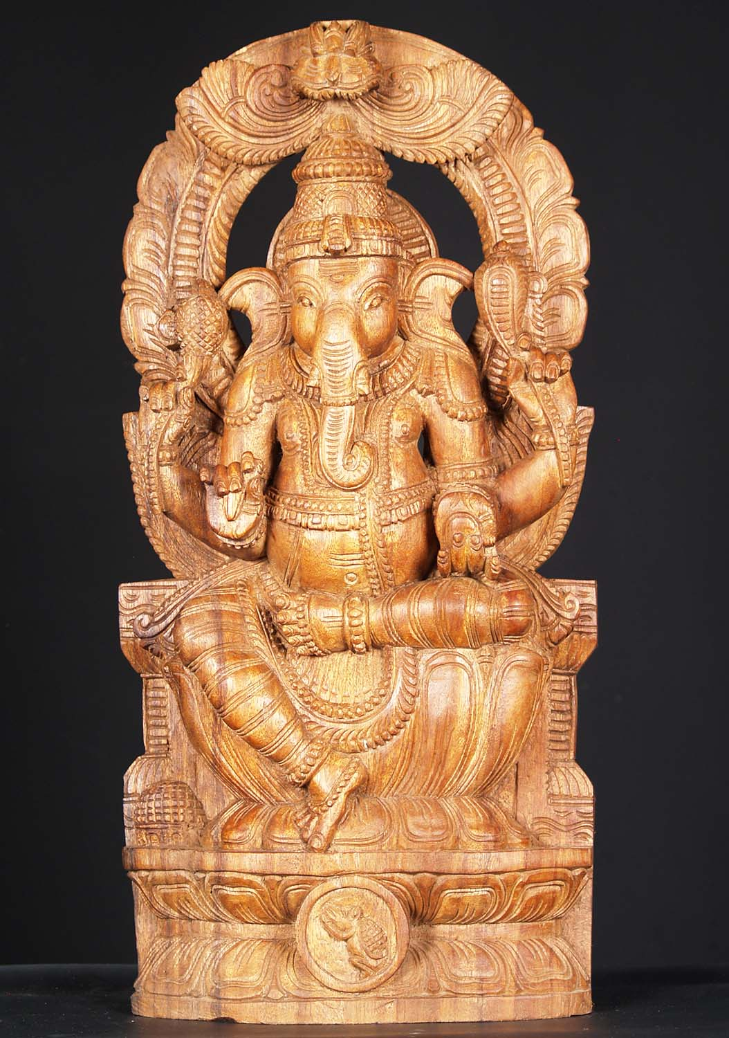 Sold wooden ganesh carving with arch quot w hw hindu