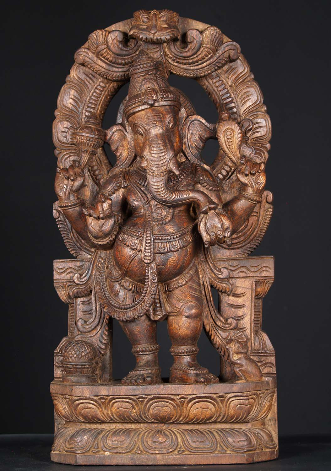 Sold Wood Standing Ganesh Statue With Arch 24 Quot 76w1hu