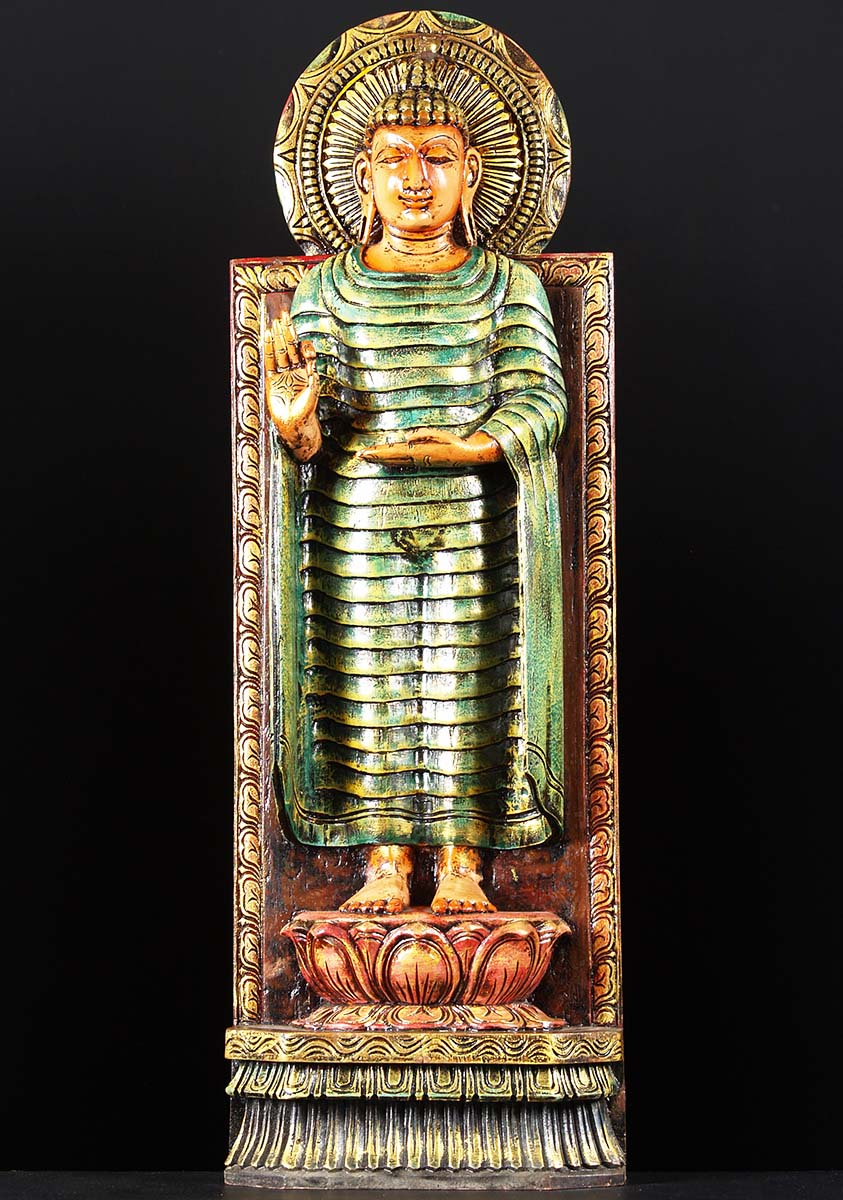 Wood Buddha Standing Statue 36 Quot 76w2t Hindu Gods