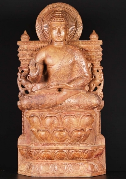 Wood Teaching Vitarka Mudra Buddha Statue 36