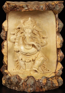 Natural Tree Ganesh Carving 11
