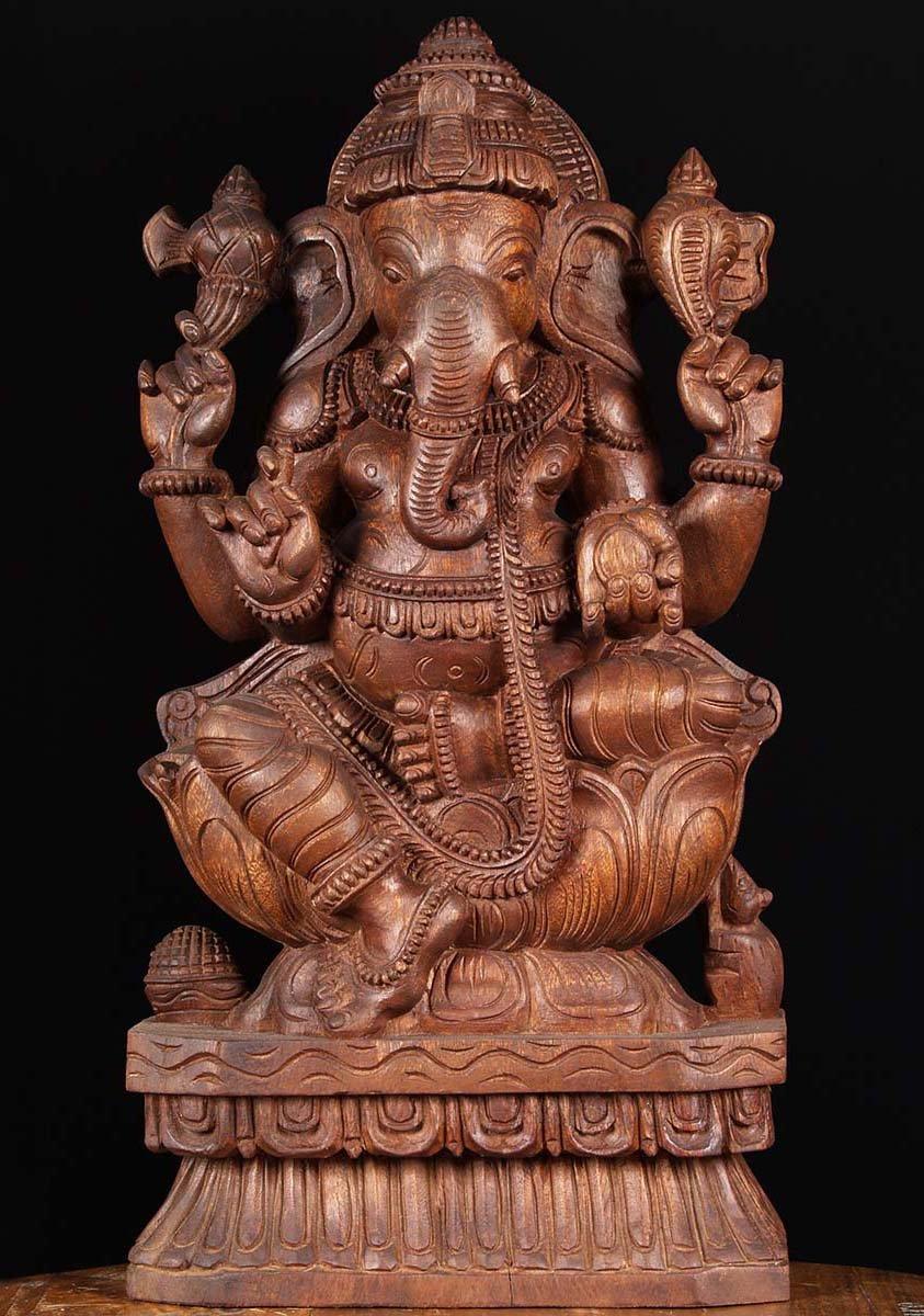 Sold wooden ganesha carving quot w ax hindu gods