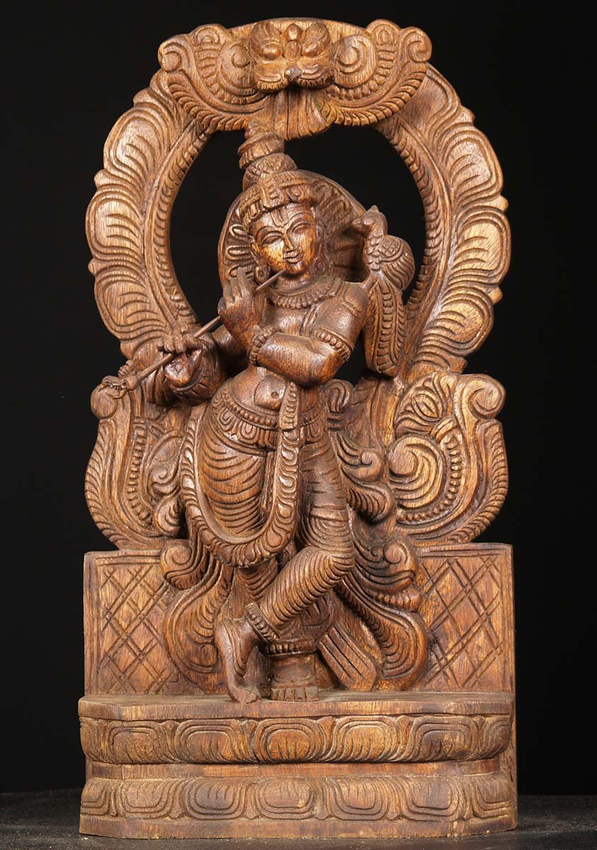Sold wood carving krishna with peacock quot w bb