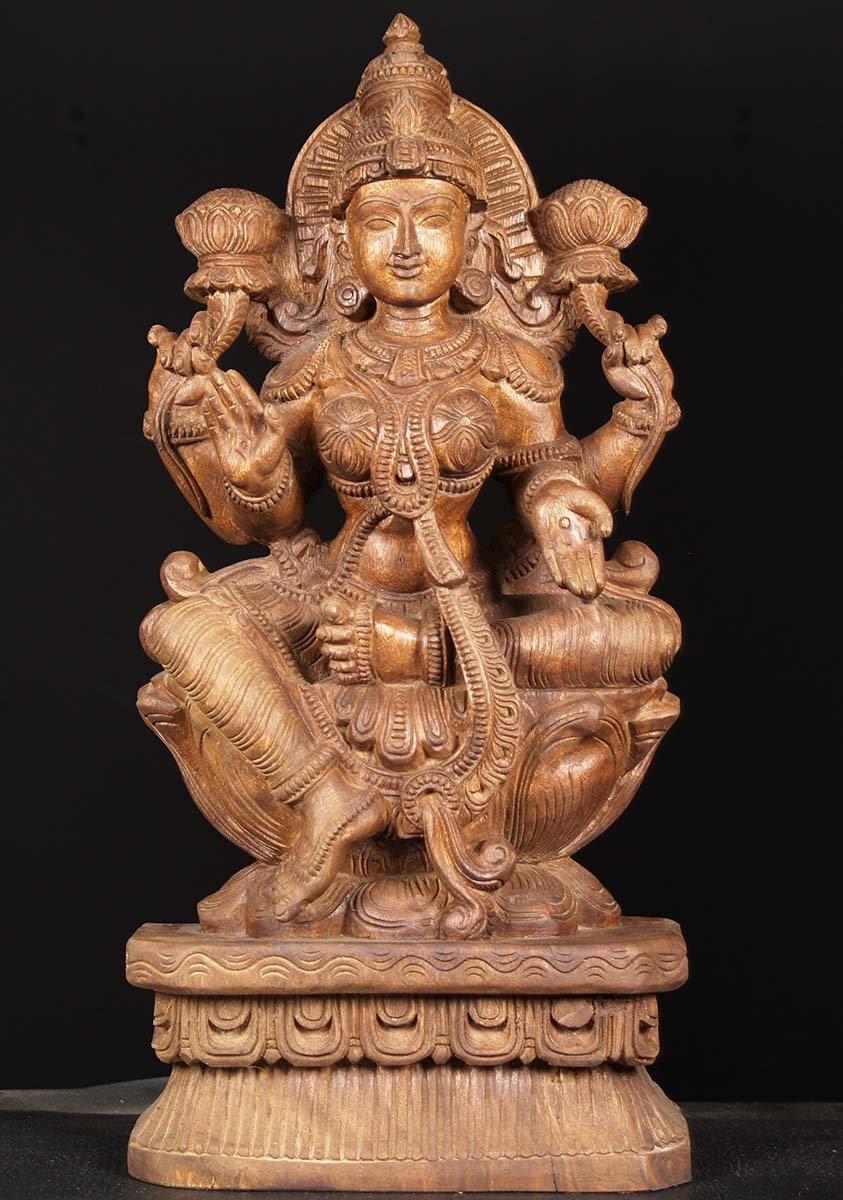 Sold beautiful wooden lakshmi statue quot w cd hindu