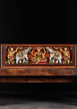 Wood Gaja Lakshmi Wall Panel Hanging 36