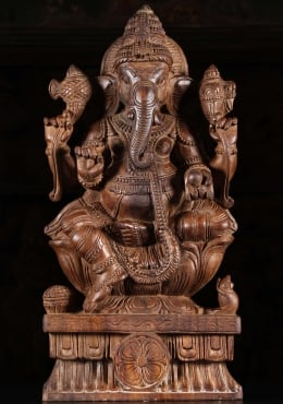 Wood Ganapathi Statue Seated on Lotus Base 24