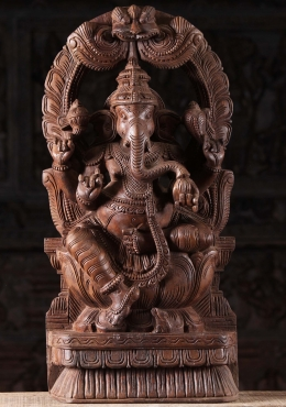 Wood Ganesh with Trunk Eating Mango Statue 24