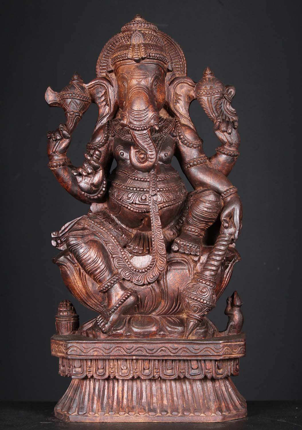 Sold wood ganesh carving holding club quot w iu hindu