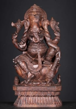 Wood Ganesh Carving Holding Club 24