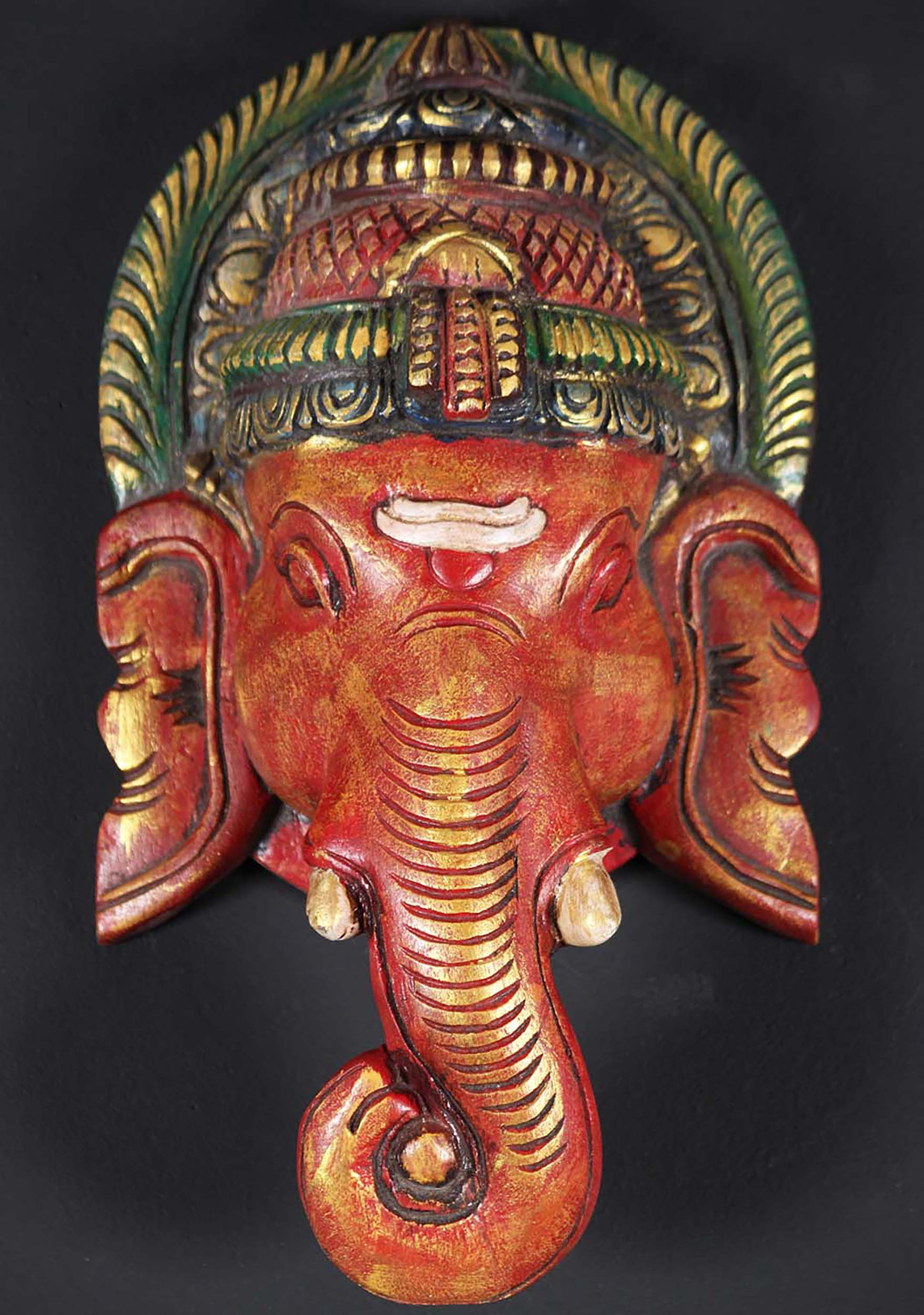 Sold Wooden Colorful Ganesh Wall Hanging 12