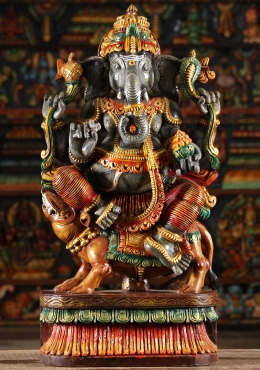 Wood Ganesh Statue Riding Rat Mooshika 30