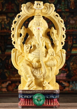 Wood Ganesh Statue With Painted Eyes 30