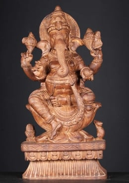 Wooden Seated Ganapathi Statue 24