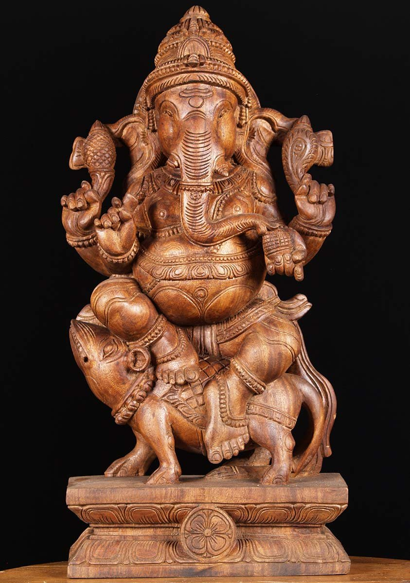 SOLD Wood Ganesha Seated On Rat Carving 24quot 76w1ap
