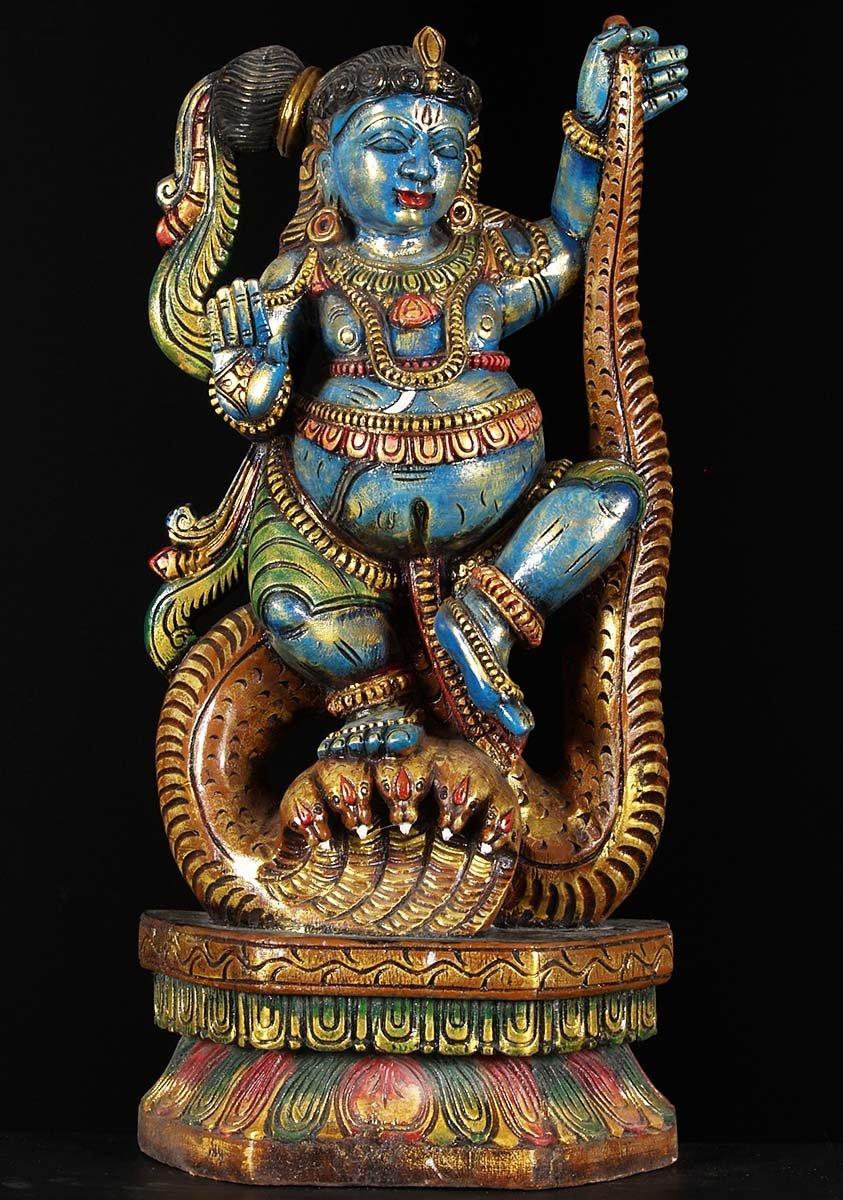 Sold Wood Kalinga Krishna Statue 24 Quot 76w1b Hindu Gods