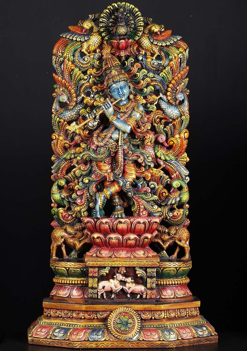 Sold wood krishna peacock carving quot w d hindu