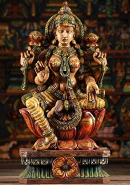 Wood Lakshmi Hindu Goddess Of Wealth Statue 30