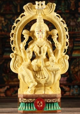 STATUE OF THE DAY Wood Lakshmi Statue With Arch & Painted Eyes 30
