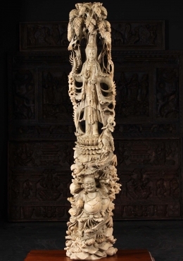 Wood Masterpiece Kwan Yin with Fat Buddha, 3 Dragons & Sudhana 66