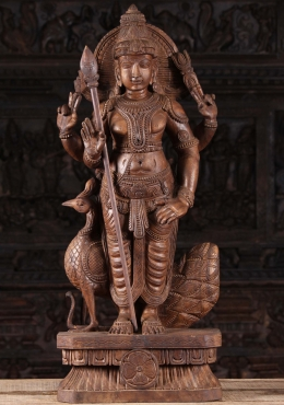 Wood Murugan Statue with Vel & Peacock 36