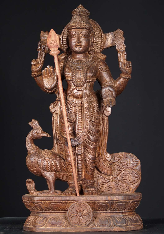 "SOLD Wood Murugan With Peacock 24"" (#76w1gz): Hindu Gods"