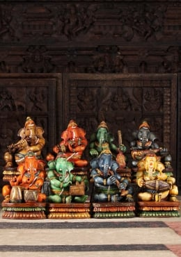 Wooden Set of 7 Musical Ganesha Statues 12