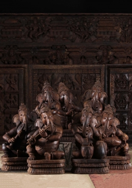 Set of 7 Wooden Musical Ganesha Statues 17