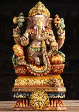 Wooden Painted Ganapathi Carving 24
