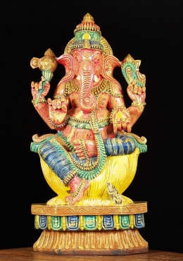 Wood Painted Ganesh Carving 24