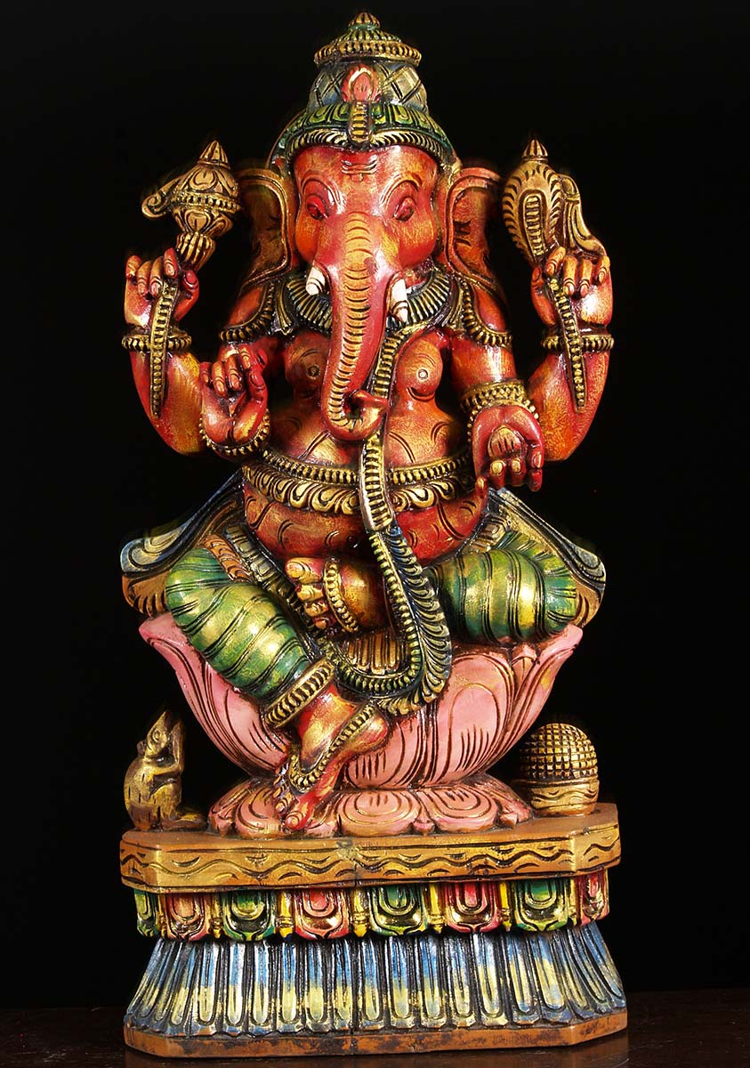 SOLD Wood Painted Ganesha Carving 24quot 76w1bo Hindu