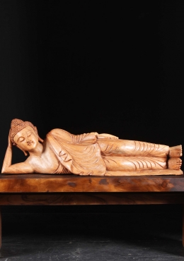 Wood Reclining Buddha Sculpture 39