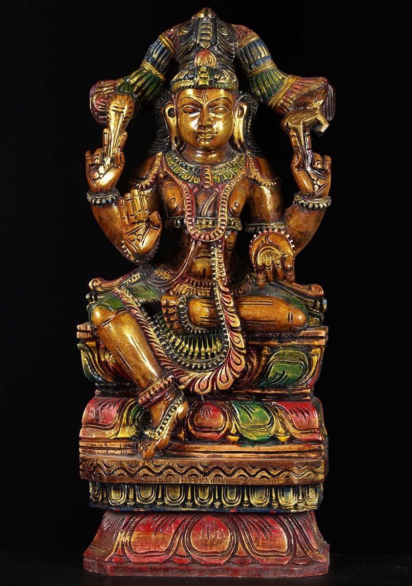 "Wood Shiva Seated Statue 25"" (#76w1d): Hindu Gods & Buddha"