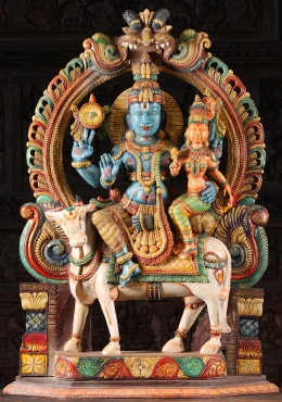 Wooden Vishnu & Lakshmi Statue Seated on Cow 48